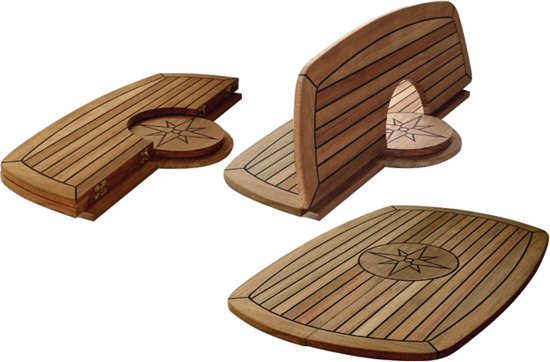 Teak tafelbladen Opklapbaar tafelblad met RVS scharnieren / Circle / TC642 / Afm. 61 x 94 cm.