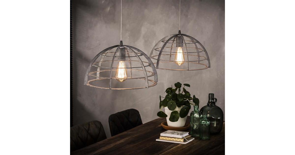 Hanglamp 2xØ40 halfrond staaldraad / Grijs