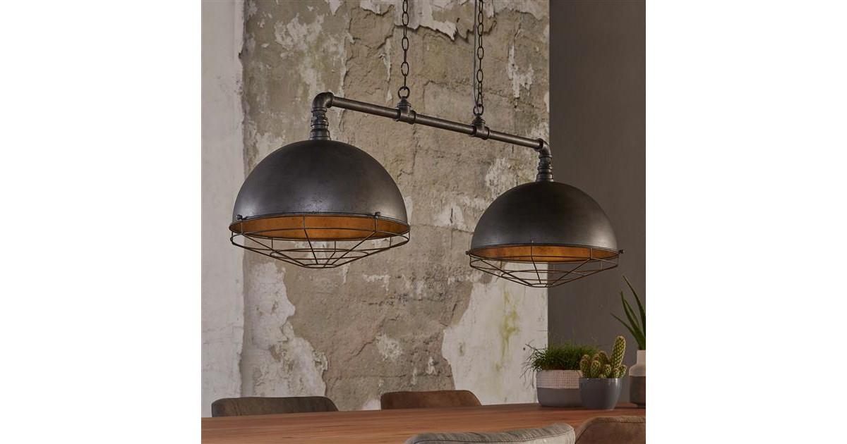 Hanglamp 2xØ40 industrial tube raster / Oud zilver