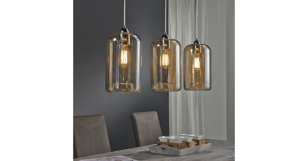 Hanglamp 3L kelk amber kleurig glas / Mat nikkel