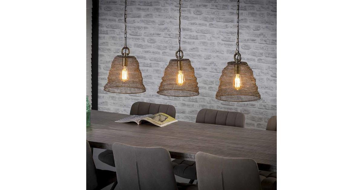Hanglamp 3xØ30 mesh / Brons antiek