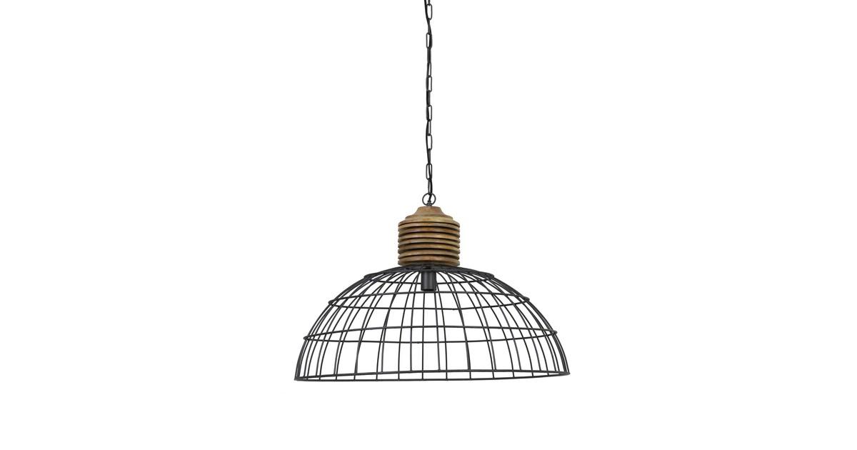 Hanglamp GABRIELLE - industrieel grijs kop hout - L
