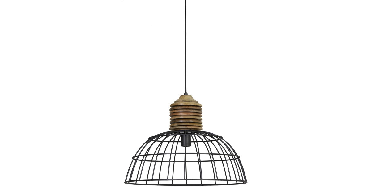 Hanglamp GABRIELLE - industrieel grijs kop hout - M